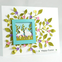 Easter Card - Bunnies - Spring Flowers - Happy Easter