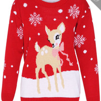 Knitted Deer CHRISTMAS JUMPER XMAS  Sweater  for Women Men Boucle
