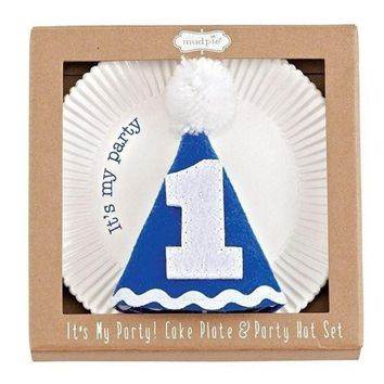 Mud Pie 1st Birthday Cake Plate and Party Hat Set