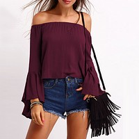 Fashion Off Shoulder Long Sleeve Solid Color Casual T-shirt Tops