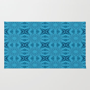 Teal Blue Flower Cross Area & Throw Rug by 2sweet4words Designs