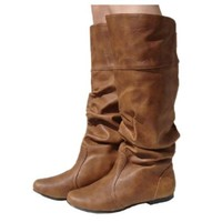 Women's Qupid Cognac Leatherette Basic Slouchy Knee High Flat Boot (Neo144),Neo-144v3.0 Cognac 5.5
