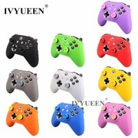 IVYUEEN Silicone Protective Skin Case Cover for Microsoft Xbox One X S Slim Controller with Thumbstick Grips Cap for Xbox