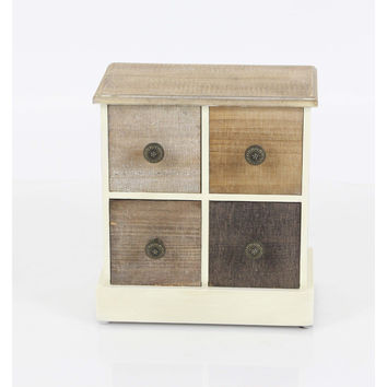 Rustic Brown Shade Jewelry Chest, Wood