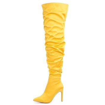 Cape Robbin Kitana-6 Women's Yellow High Heel Boot