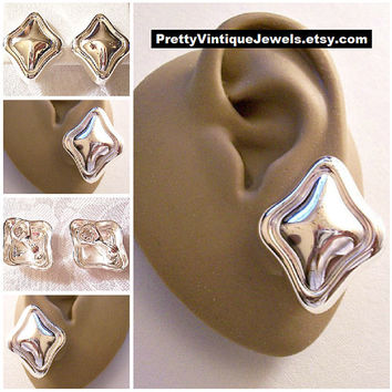 Monet Diamond Puffed Clip On Earrings Silver Tone Vintage Large Reflective Rim Lined Thick Edge Brushed Back Open Comfort Paddles