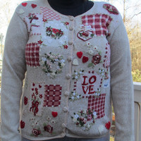 valentine's day sweater, Tacky sweater, knitted sweaters, love, coffee, comfortable sweater, Valentines, white sweater, ugly sweater, unique