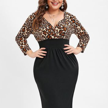Leopard Print Plunging Neck Dress Long Sleeves Knee-Length Party Dress