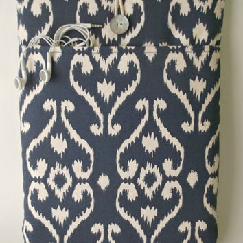 Macbook Pro 13 Case, Laptop Bag, Charger Cord Accessory Pocket, 13 . 3 inch Padded Mac book Sleeve, Pro Retina Cover Sac, ikat  Navy Blue