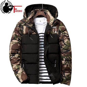 Winter Jacket Men Patchwork Parka Camouflage Camo Coat Cotton Padded Down Fashion Hooded Stylish Designer 2017 New Arrival Red