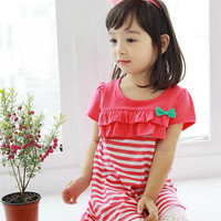 High Quality Girls Children Fashion Cotton Striped Princess Dress With Bow Girls Kids Summer Short Sleeve Dress 5 pcs/lot 2 Colors