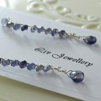 Iolite Wrapped Sterling Cotterpin Earrings with by livjewellery