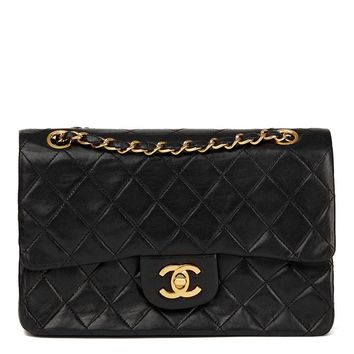CHANEL BLACK QUILTED LAMBSKIN VINTAGE SMALL CLASSIC DOUBLE FLAP BAG HB1717