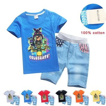 Child Boys Funny  At Freddy Game Costume Baby Kids Blue Cool Cotton T-shirt Denim Jeans Shorts Graphic Tees For 6-12T