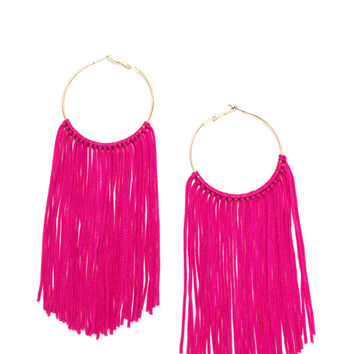 Boho Getaway Fringed Hoop Earrings GoJane.com