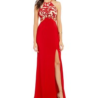 Dear Moon Sequin Scroll Pattern Bodice Long Dress | Dillards