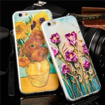 Fashion 3D embossing design Van Gogh watercolour drawing phone case For iPhone 5 5S SE 6 6S 6Plus 7 7Plus soft TPU protect cover