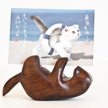 Solid Wood Otter Business Card Holder, Ironwood Wooden Picture Holder Postcard Stand, Office Supply