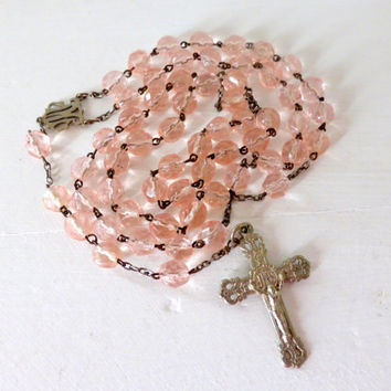 Antique French Pink Faceted Glass, Art Nouveau Rosary
