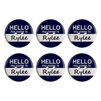 Rylee Hello My Name Is Plastic Resin Button Set of 6