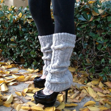 Hand Knitted Leg Warmers - Cable Knit Boot Cuffs - Fashion Trend - Winter Fashion