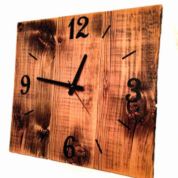 Rustic Reclaimed Barn Wood Clock Large Barn Wood Wall Clock