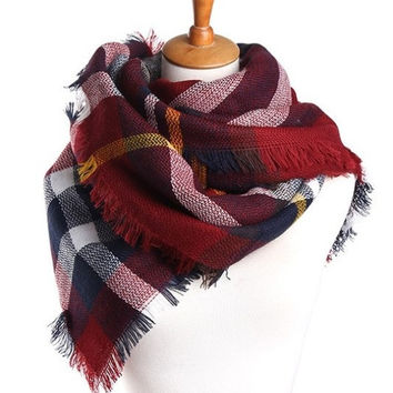Red Classic Tartan Plaid Scarf