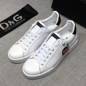 Dolce&Gabbana CALFSKIN PORTOFINO SNEAKERS WITH PATCHES OF THE DESIGNERS D&G Low-Top Sneakers - Best Deal Online