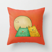 Cats Throw Pillow by Carina Povarchik