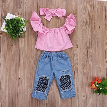 3 Pcs Toddler and Girls Pink Off the Shoulder Top, Fishnet Pants and Bow Headband