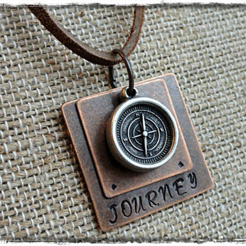 Journey Mens Layered Hand Stamped Leather Compass Charm Necklace Mens Compass