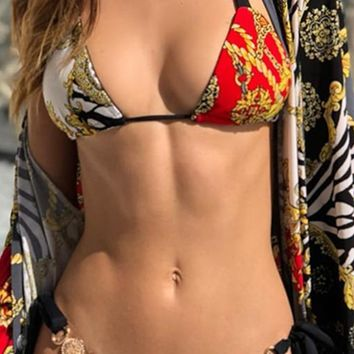 Waves Crashing Geometric Chain Pattern Triangle Bikini Metallic Button Two Piece Swimsuit - 2 Colors Available