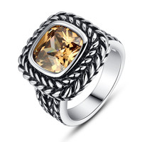 Stainless Steel Vintage Square Sunglow Yellow Cubic Zirconia Ring