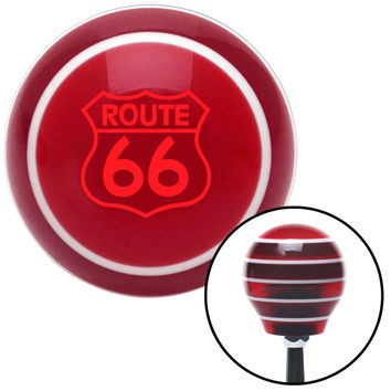 Red Route 66 Sign Red Stripe Shift Knob with M16 x 15 Insert