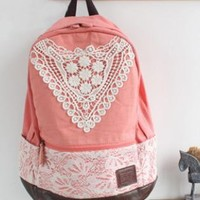 Cute White Lace Canvas Pink Backpack
