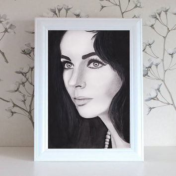 Elizabeth Taylor Print Illustration
