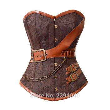 Brown  S-6XL Vintage Gothic Corset Jacket Steel Bone Waist Plus Size Corsets And Bustiers Leather  Steampunk Costumes  For Women