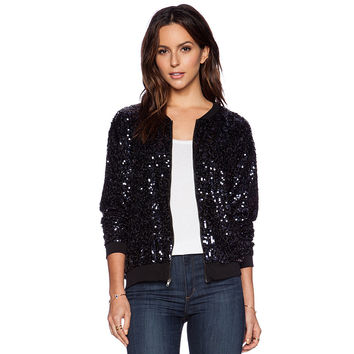 Casual Black Sequined Zipper Front Jacket