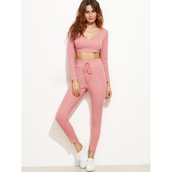 Crop Hooded Top With Drawstring Waist Pants PINK