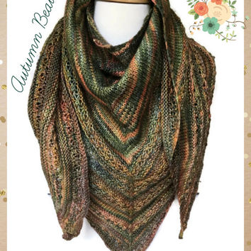 Triangle Lace Shawl Autumn Merino Wool Blend Malabrigo Rios Primavera Large Size