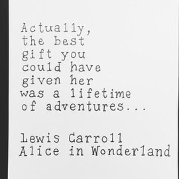 ALICE IN WONDERLAND Lewis Carroll quote original print - Disney Alice in Wonderland Lewis Carroll typography print illustration typewriter