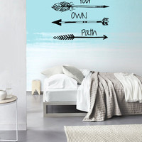 Wall Decal Vinyl Sticker Decals Art Decor Design Arrows Choose your own Path Quote Words Hippster Aztec Geometric Bedroom Dorm Office(r1214)