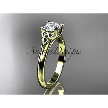 14kt yellow gold celtic trinity knot wedding ring, engagement ring CT7154