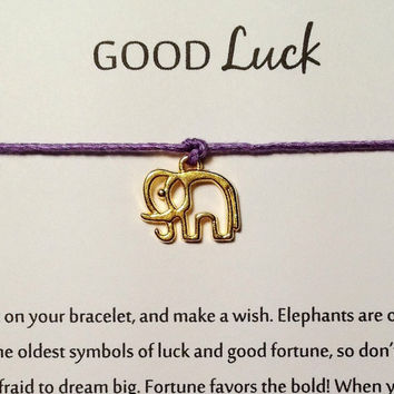Good Luck Elephant Wish String Bracelet | Make a Wish Bracelet | Good Fortune Friendship Bracelet | Boho, Hippie, Hipster Style