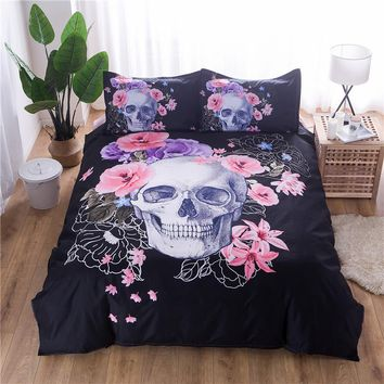 Cool Floral Skull Duvet Cover Set Single Double Queen King 2/3pcs Bedclothes Bed Linen Bedding Sets(No Sheet No Filling)AT_93_12