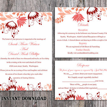 DIY Wedding Invitation Template Set Editable Word File Instant Download Printable Peach Wedding Invitation Elegant Coral Floral Invitations