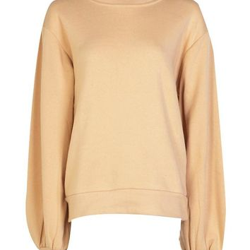 Naomi Balloon Sleeve Oversized Sweatshirt | Boohoo