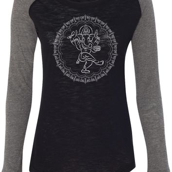 Womens Yoga T-shirt Circle Ganesha White Print Preppy Patch Elbow Tee