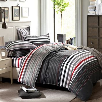 grey and red stripes printing 4pc bedding set queen bed Duvet/Quilt covers bedclothes pillow shams sets 100% cotton