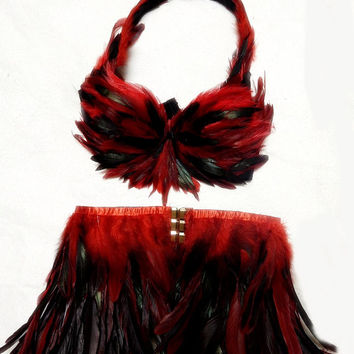 Red Black  Feather Halter  Bra & Hip Skirt  set Custom Made 4U